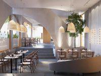 Nội thất trong quán cafe phong cách Địa Trung Hải sẽ chủ yếu được làm từ các vật liệu tự nhiên như gỗ, tre,…